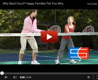 A video thumbnail of a mother and daughter on a tennis court made by Sport Court New England in Andover, MA