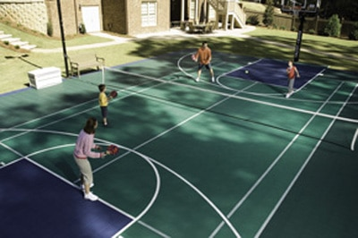 Backyard courts andover ma sport court new england for How to build your own basketball court